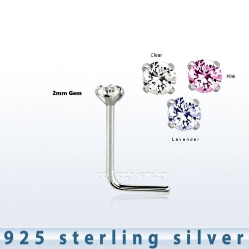 22g 2mm Round Prong Set Cz 925 Sterling Silver L Shaped Nose Stud