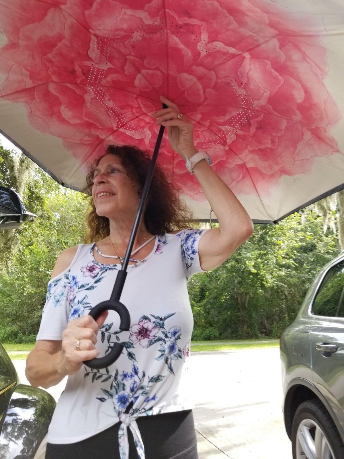 NEW Rose C Handle Double Layer inverted Reverse upside down Umbrella U1