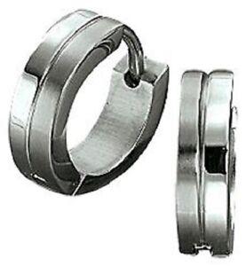 Das Bild wird geladen Titan-Titanium-Klappcreolen-Kreolen-Ohrringe-Silber- Damen-Herren- 6c005caec3