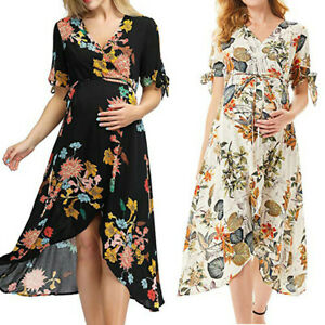 Womens-Ladies-Maternity-Pregnanty-Short-Sleeve-Print-Floral-Frenulum-Long-Dress