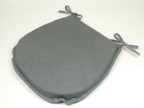 CHEAP SET OF 4 6 PLAIN GREY DINING CHAIR SEAT PADS CUSHIONS TIE ON D-SHAPE