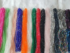 Joblot-of-34-strings-mixed-colour-6-mm-bicone-shape-Crystal-beads-new-wholesale