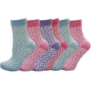 Femmes Luxe Super Doux Chaud Salon Confortable Lit Chaussettes UK 3-5 1//2 EU 36-38 zigzag
