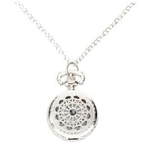 Mann-Frauen-Taschenuhr-Quarz-Silber-Legierung-haengende-Halsketten-Taschen-Dekor