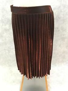 Lauren-Conrad-skirt-Size-L-red-gold-accordian-style-NEW-NWT-pleated-sparkle