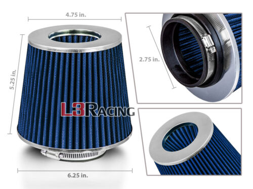 """BLUE 2.75 Inches 2.75/"""" 70mm Inlet Cold Air Intake Cone Dry Filter For Infiniti"""