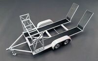 Gmp 1:18 Tandem Car Trailer W/tire Rack, Grey W/ Black Ramps
