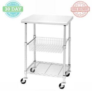 Details about Kitchen Cart Stainless Steel Top Adjustable Wire Basket Shelf  Lockable Wheels