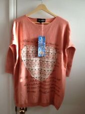Nwt Young Tread Womens Sweater with Lace Heart and Studs Front Coral Pink SIZE S
