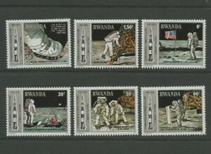 Apollo-11-Lunar-Lander-mnh-set-of-6-stamps-1980-Rwanda-Armstrong-Aldrin-Collins