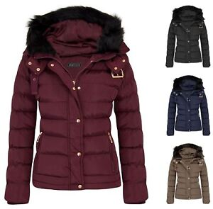 Womens Fur Hood Jacket Quilted Winter Faux Warm Padded Outerwear