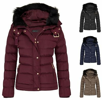 Intelligent Womens Fur Hood Jacket Quilted Winter Faux Warm Padded Outerwear Proof Thick