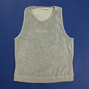 Max-co-tricot-maglia-canotta-donna-top-usato-L-canott-t-shirt-grigio-T4126