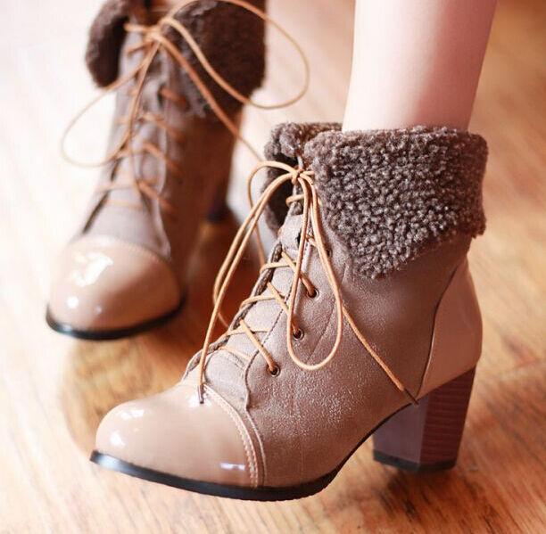 stivali stivaletti scarpe donna marrone tacco 6 cm simil pelle comodi 9145