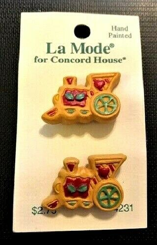 3571H~NOC LA MODE  for Concord House Hand Painted Christmas Train Buttons**