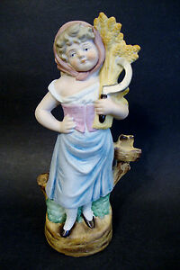 "Bisque Porcelain Figurine Marked Germany # 3322-9 1/2""h Ceramics & Porcelain 7143 Decorative Arts"