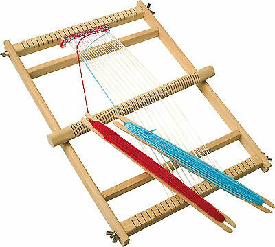 Childrens Large Wooden Weaving Loom & Accessories 46cm x 33cm Craft Toy 7490