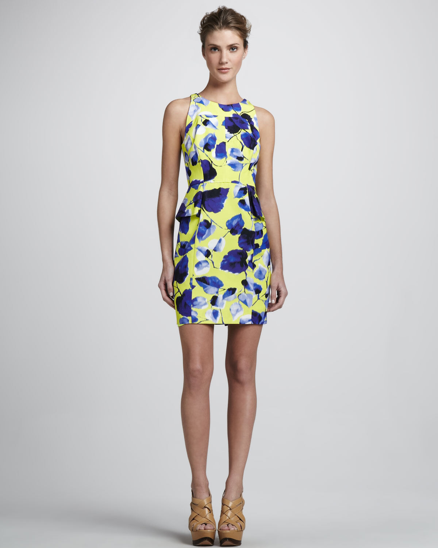 Milly of New York Floral Peplum Sheath Dress Gelb Spring Summer Sleeveless - 8