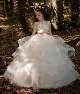 566b34dfada25 Details about 2019 Vintage Flower Girl Dresses For Weddings Blush Pink  Custom Made Princess