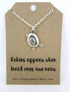 Robins-Appear-When-Loved-Ones-Are-Near-Message-Card-Silver-Necklace-New-Memory