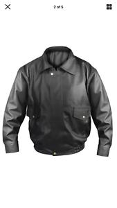 Para Hombre Chaqueta de bombardero de cuero de imitación Tamaños chaqueta de piloto de estilo retro entre L-XXL