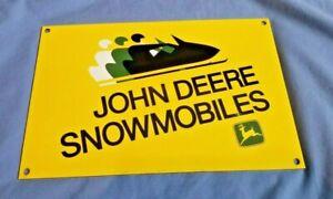 VINTAGE-JOHN-DEERE-PORCELAIN-GAS-SNOWMOBILES-SERVICE-STATION-PUMP-SIGN