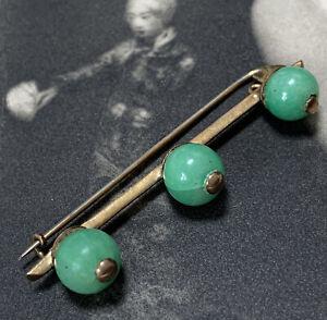 Antiguo-Art-Deco-Oro-Amarillo-18ct-De-Bola-De-Jade-Broche-18k-Pin