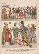 Deutschland Mode um 1500 - 1500 Trachten Ritter Soldaten Jäger LITHOGRAPHIE 1882
