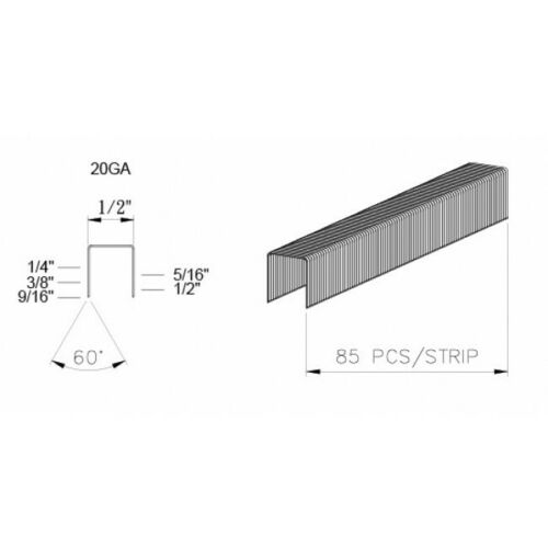 """1-CASE 5010C 5//16/"""" 20 GAUGE 1//2/"""" CROWN STAPLES FOR DUOFAST 20 BOXES 5000"""
