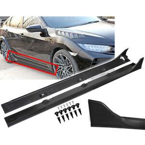 Side Skirt Extension For 16-2020 Honda CIVIC 4DR Sedan LX EX Si Blk Type-R Style