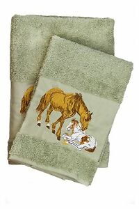 Horses Embroidered Bath And Hand Towel Set Best Quality Turkish Cotton By Ebru