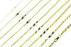 14k-Gold-over-925-SOLID-Sterling-Silver-Diamond-Cut-ROPE-Chain-Necklace