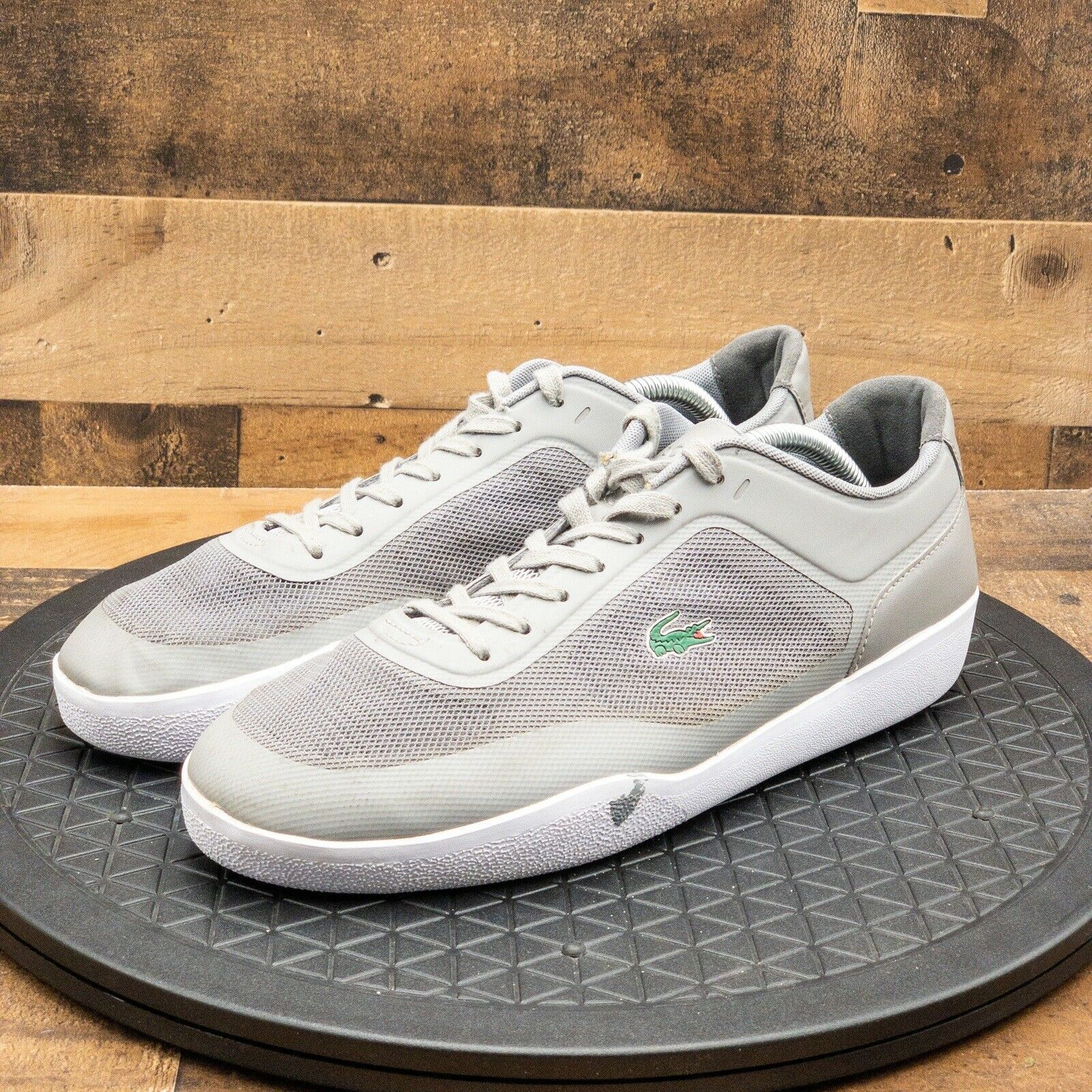 Lacoste Mens Shoes Athletic Casual Gray Sneakers Lace Up Low Walking Gray Sz 10