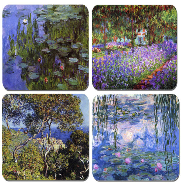 Monet Coasters Set Of 4  High Quality Cork Backed Water Lillies, Garden Giverny
