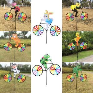 Détails sur 3D Animal sur vélo Moulin à vent Fileur Roue Pinwheel Jardin  Fête Décor Jouet