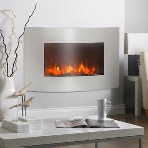 Stainless Steel 1500w Adjustable Electric Wall Mount Heater Fireplace 36 X21 Ebay