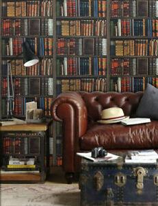 Designer libreria effetto 3d biblioteca libri ripiani for Carta parati libri