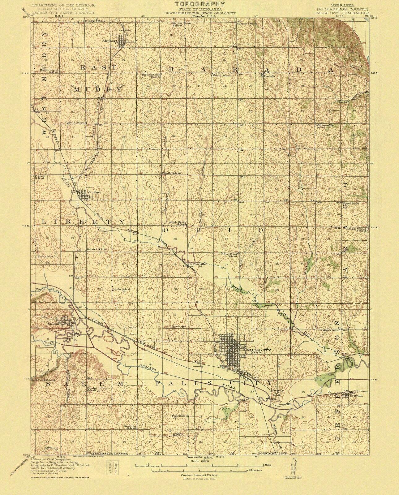 Falls City Nebraska Quad - USGS 1915 - 23 x 28.5