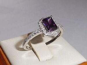 Damen-solide-925-Sterling-Silber-Amethyst-Baguette-amp-white-Saphir-Ring