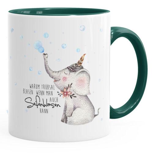 süße Kaffeetasse Elefant Warum Trübsal blasen wenn man auch seifenblasen kann