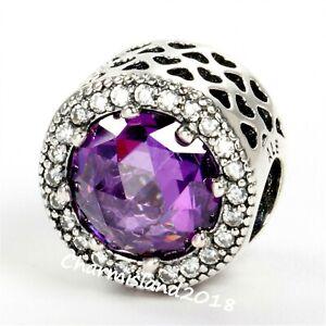 Authentic-Pandora-791725-Silver-925-ALE-Clear-Purple-Radiant-Hearts-Charm-Z