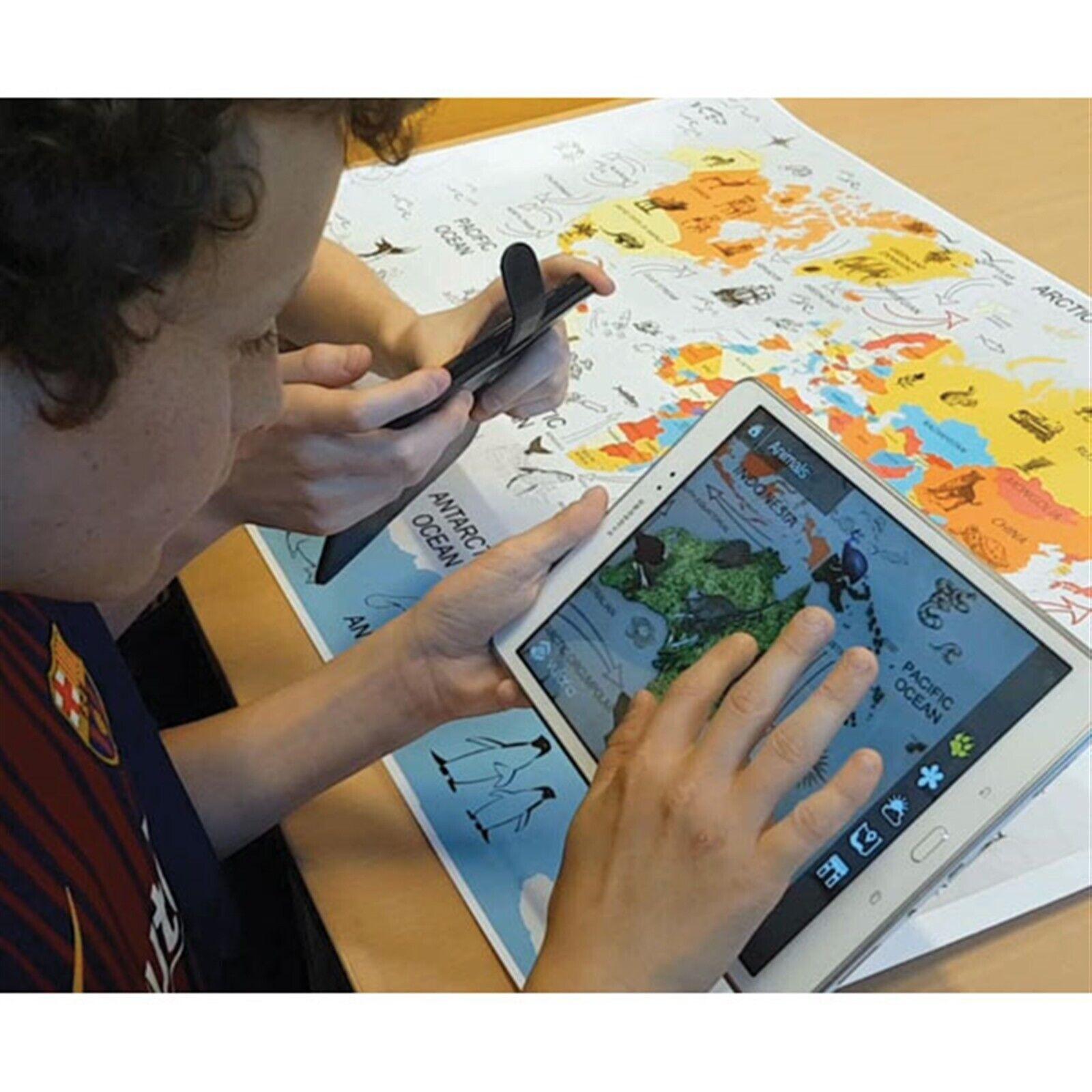 Cleverbooks-geografía-mapa del mundo con realidad aumentada - 600 X 900mm