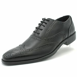 Parrazo Mens Lace-Up Classic-Oxford Wing-Tip Dress Shoes