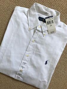 Ralph-Lauren-Algodon-Blanco-Clasico-S-S-Shirt-Top-Usa-Modelo-Pequeno-Nuevo-Y-Etiquetas