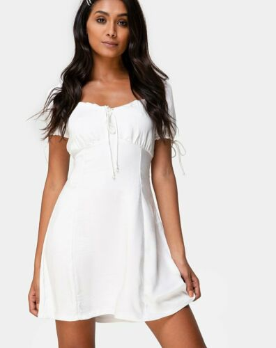 MOTEL ROCKS Guenette Dress in Satin Ivory M Medium mr35