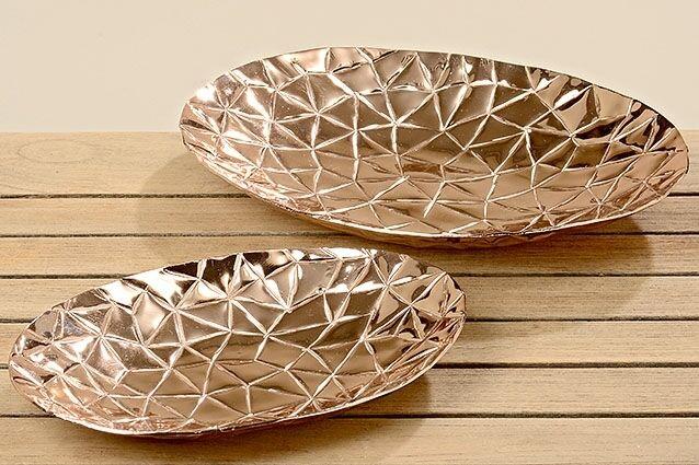 Handgearbeitete Deko Teller Elif im 2er-Set Aluminium kupferoptik Dekoration