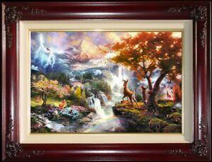 Thomas-Kinkade-Bambi-039-s-First-Year-S-N-18x27-Framed-Disney-Bambi-Canvas-Paintings