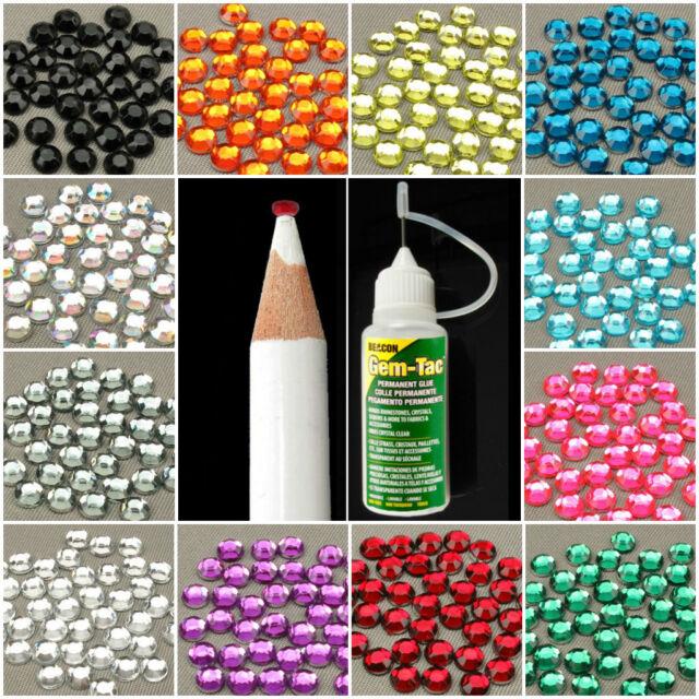 Gem Tac Glue Embellishment Pack With Rhinestones & Pick Up Pencil 2mm 3mm Or 4mm
