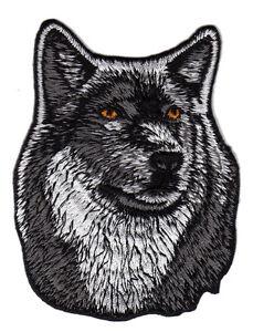 au55-Wolf-Hund-Kopf-Tier-Dog-Aufnaeher-Buegelbild-Patch-Applikation-7-3-x-9-3-cm