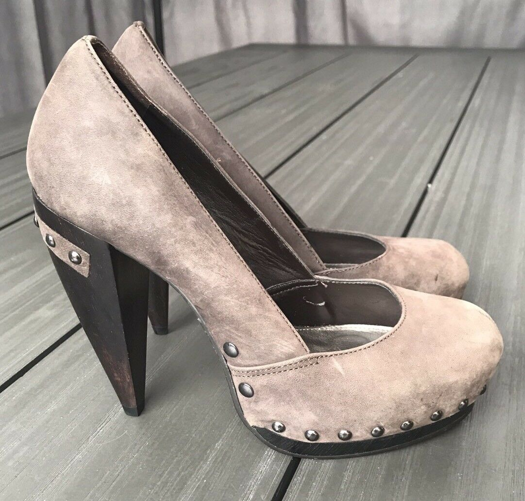 CARVELA Ladies Brown Suede Upper Studded Heels - size UK 4 / EU 37